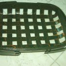 Henn Workshops 7x11 basket in aged green finish with 2 swing handles
