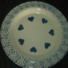 Henn Workshops blue sponged dinner plate with hearts