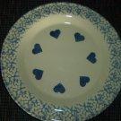 Henn Workshops blue sponged dinner plate with hearts