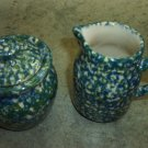 Henn Workshops double blue/green sponged sugar and creamer set