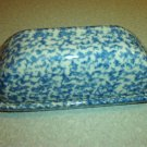 Henn Workshops blue sponged butter dish lid only