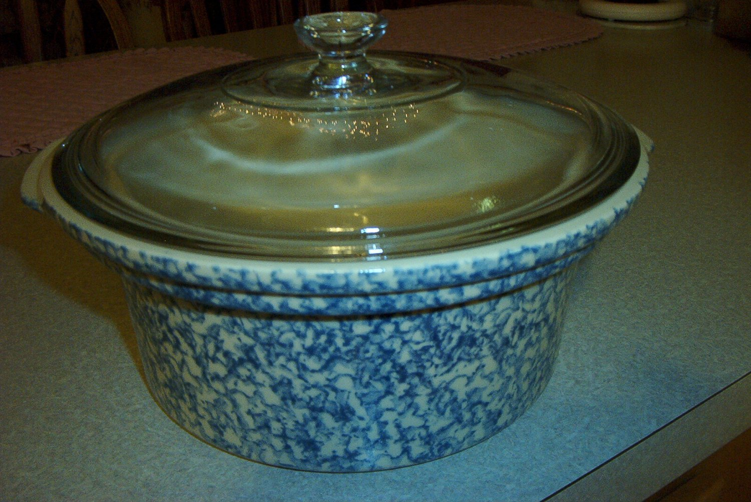 Henn Workshops  blue sponged 2 quart casserole (crock pot)