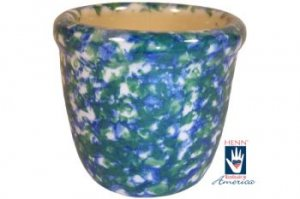Henn Workshops blue/green sponged votive cup