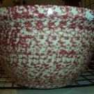 "Gerald E Henn Workshops 14"" cranberry / rose Sponged mixing largest bowl"