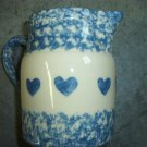 Henn Workshops blue sponge with blue hearts 1 quart pitcher