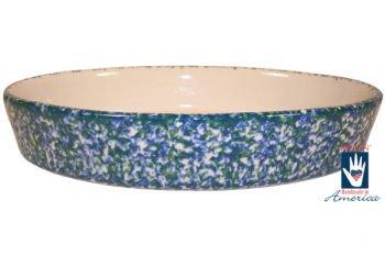 """Gerald E Henn Workshops double sponged blue & green 12"""" oval baker"""