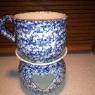 Henn Workshops blue Sponged  soup mug and tea candle holder tart melt set