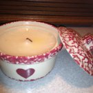 Henn Workshops heart cranberry sponged small crock with lid and vanilla spice candle