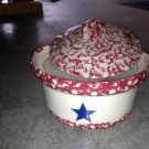 Henn Workshops old glory cranberry sponged small crock with lid and vanilla spice candle