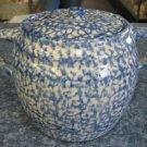 Henn Workshops blue sponged cookie jar / soup pot lid only