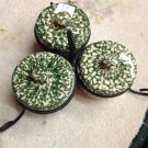 Henn Workshops green sponged condiment cup, lids and wrought iron set