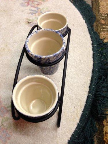 Henn Workshops black wrought iron herb pot 3 blue sponged set