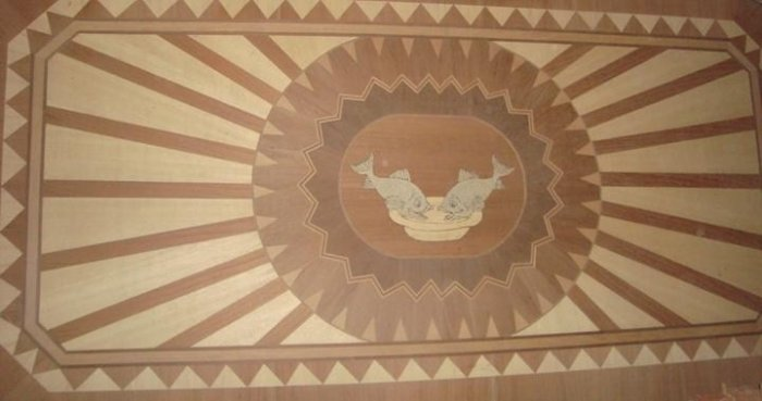 Panel of Peruvian Wood Veneer Marquetry Fish Motive