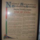Vintage Advertising Document Code Of Ethics Spartan Vending Co 1957