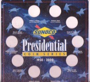 Sunoco Presidential 10 Coin Series Card Holder 1950-2000