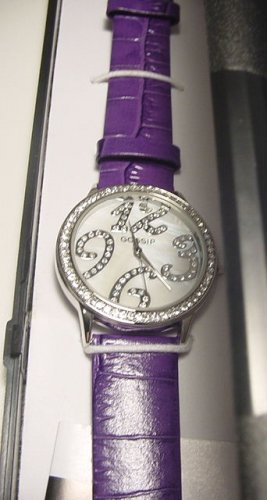 Gossip Crystal Bezel Round Face Watch- PURPLE