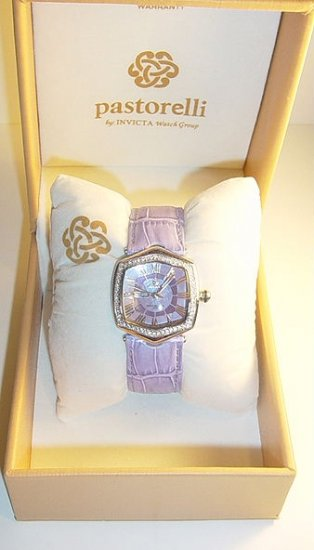 PASTORELLI Crystal Bezel Leather Strap Watch by Invicta