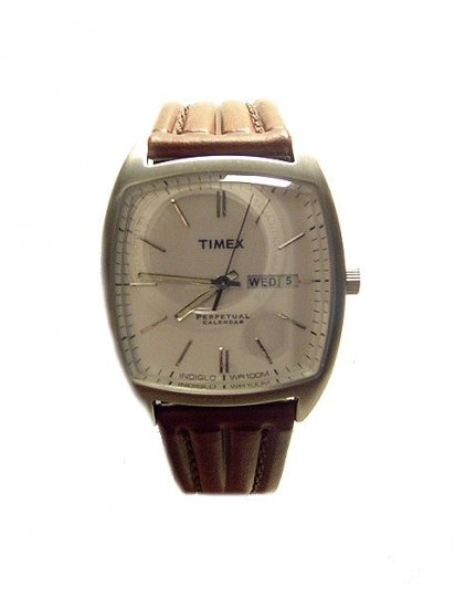 TIMEX  Men's Perpetual Calendar Brown Leather Strap Watch