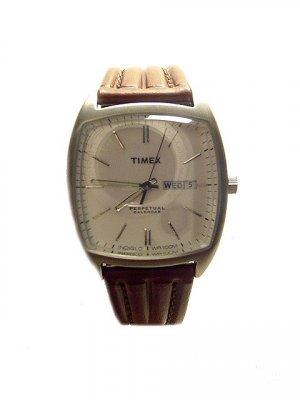 TIMEX  Men's Perpetual Calendar Brown Leather Strap Watch