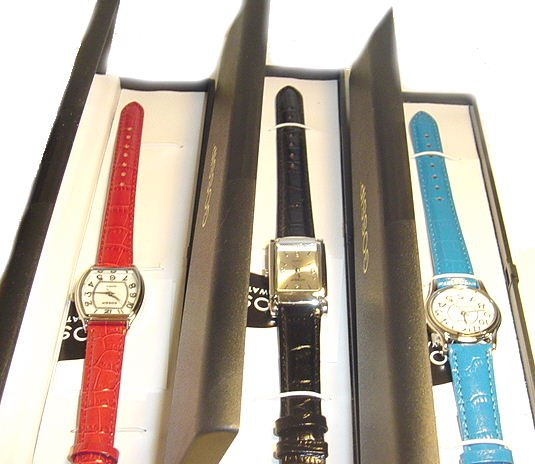 GOSSIP Set of 3 Croco Leather Watches (Black,Red,Teal)