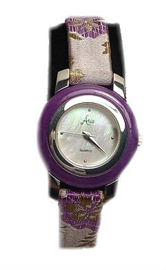 ARIA Sterling Jade Bezel Floral Print Strap Watch