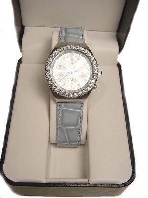 DIAMONIQUE Techno Style Leather Strap Watch-Blue