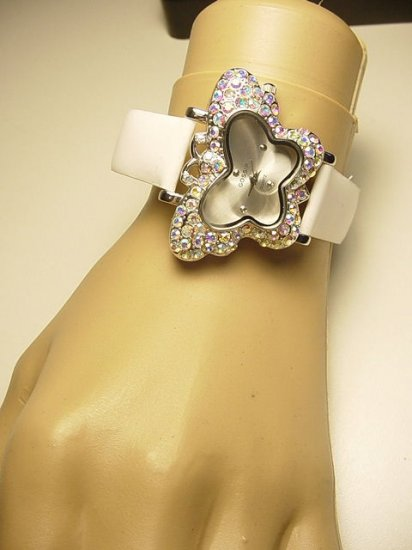 GOSSIP Butterfly Encrusted Crystal Bezel Watch-White