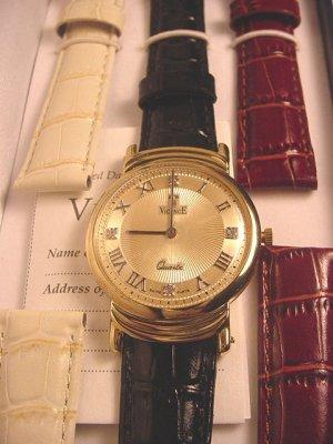 VICENCE Large Diamond Accent 14K Watch w/ 3 Straps