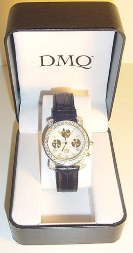 DIAMONIQUE 1.20 ct tw Leather Strap Watch with Sub-dial