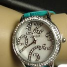 Gossip Crystal Bezel Round Face Watch- TEAL