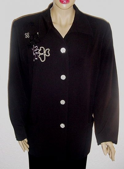 RUSSELL KEMP Black Embroidered & Beaded Jacket SZ 18