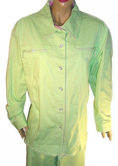 QUACKER FACTORY Green Rhinestone Jacket & Crop Pants SZ 2X