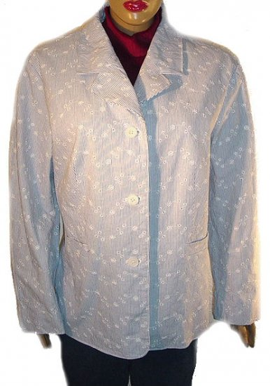 DENIM AND COMPANY Floral Eyelet Striped Blazer SZ 2X