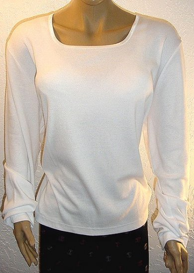 DENIM AND COMPANY White Stretch Ribbed Square Neck Long Sleeve T-shirt SZ 3X
