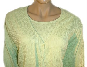 DENIM AND COMPANY Green Stretch Pucker 3/4 Sleeve Cardigan and Shell SZ 3X