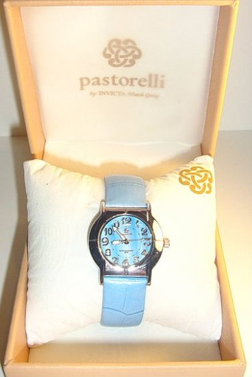 PASTORELLI Silvertone Case Watch w Blue /Leather Strap byInvicta