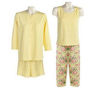 CAROLE HOCHMAN Yellow 4-piece Stretch Knit Lounge Set SZ 3X