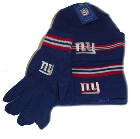 NY Giants Reebok NFL Knit Hat, Scarf, Gloves Gift Set NWOB
