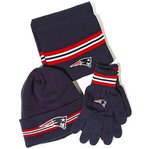 New England Patriots Reebok NFL Knit Hat, Scarf, Gloves Gift Set NWOB