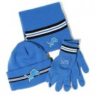 Detroit Lions Reebok NFL Knit Hat, Scarf, Gloves Gift Set NWOB