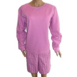 DENIM AND COMPANY Orchid Stretch Sweatshirt and Textured Plaid Shorts SZ 1X
