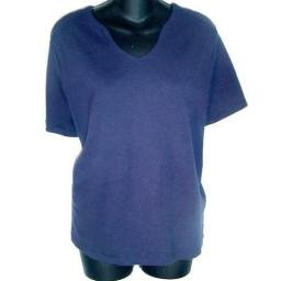 CASUAL WORK STYLES Navy Wedge Neck Stretch T-shirt SZ 2X