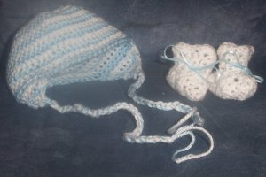 Handmade Crochet Baby Booties and Hat