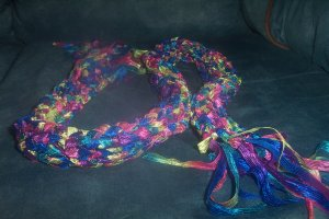 Multi Colored Woman's Knit Ribbon Scarf