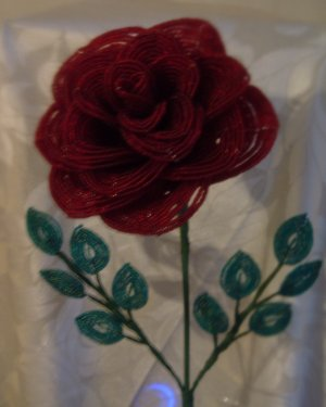 Large Beaded Red Rose