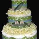Twin Peas in a Pod Boy/Girl Baby Diaper Cake, Baby Shower Centerpiece