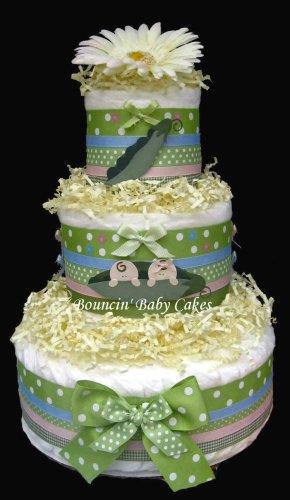 Twin Peas in a Pod Boy/Girl Baby Diaper Cake, Baby Shower Centerpiece