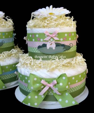 2 Tier Pea in a Pod Baby Girl Diaper Cake