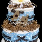 2 Tier Blue and Brown Puppy Diaper Cake