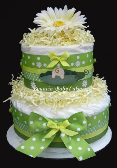 2 Tier Pea in a Pod Baby Neutral Diaper Cake